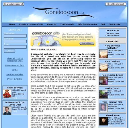 A screen grab of GoneTooSoon.co.uk. REUTERS/www.gonetoosoon.co.uk