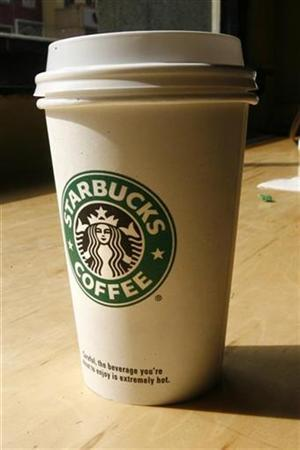 A cup of coffee sits at a Starbucks coffee shop in New York, March 14, 2007. REUTERS/Keith Bedford