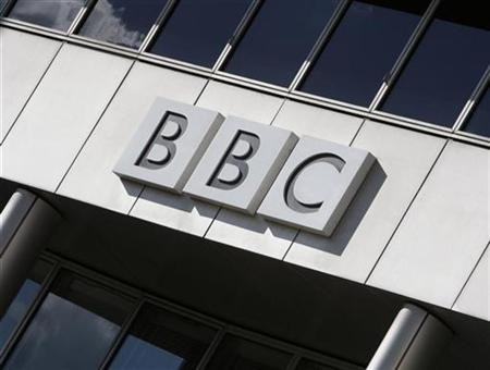 A BBC logo is seen on a building in White City, London October 17, 2007. MySpace on Wednesday said it signed an agreement with BBC Worldwide to bring short video clips from programs such as ''Doctor Who'' and ''Top Gear'' to its online community. REUTERS/Stephen Hird