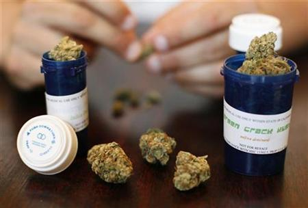 Medical marijuana is displayed in Los Angeles, August 6, 2007. Companies can fire employees who use marijuana for medical reasons even if California law allows such use because federal law prohibits it, the state's Supreme Court ruled on Thursday. REUTERS/Mario Anzuoni