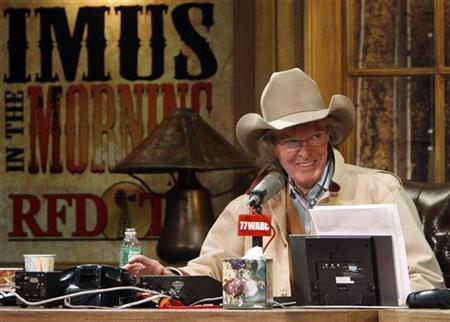 Radio personality Don Imus talks on air during his return to radio in New York, December 3, 2007. REUTERS/Brendan McDermid