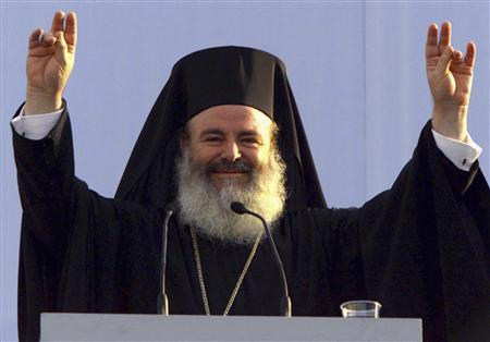 Archbishop Christodoulos, the leader of the Greek church, in Thessaloniki, June 2000. The head of Greece's powerful Orthodox Church, Archbishop Christodoulos, died of cancer on Monday at the age of 69. REUTERS/Yannis Behrakis/Files