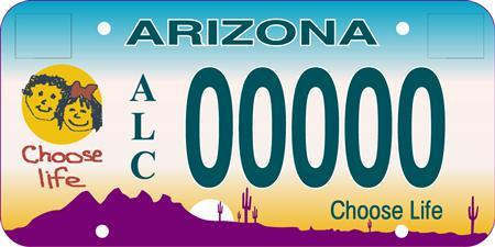 An illustration showing the design for Arizona's ''Choose Life'' license plate, released to Reuters on January 28, 2008. An Arizona agency wrongly denied an anti-abortion group permission to print their message ''Choose Life'' on license plates, a federal appeals court ruled on Monday. REUTERS/The Center for Arizona Policy/Handout