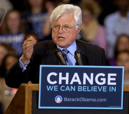 Senator Edward Kennedy (D-MA) makes remarks at a rally for Democratic presidential candidate Senator Barack Obama (D-IL) at American University in Washington January 28, 2008. REUTERS/Mike Theiler