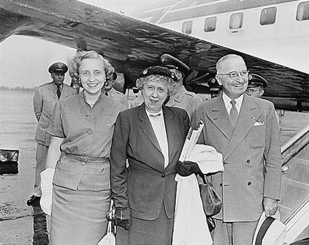 (From right), former president Harry S. Truman, his wife Bess Truman, and his daughter Margaret Truman are seen in a 1951 photo from the U.S. National Archives. REUTERS/National Archives/Handout