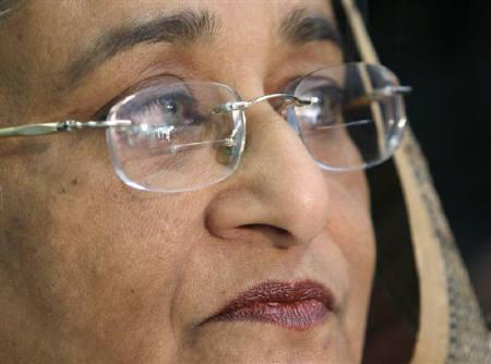 Former Prime Minister of Bangladesh Sheikh Hasina is seen in London in this April 21, 2007 file photo. A Bangladesh court heard charges of extortion against Hasina and a cabinet colleague as her trial resumed on Wednesday. REUTERS/Luke MacGregor/Files