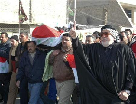 Mourners carry a flag-draped coffin of a shooting victim during a funeral in Amil district in Baghdad January 21, 2008. More than one million Iraqis have died as a result of the conflict in their country since the U.S.-led invasion in 2003, according to research conducted by one of Britain's leading polling groups. REUTERS/Ahmed Malik