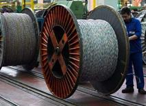 <p>Le fabricant de câbles Nexans a réévalué ses perspectives pour 2008 et 2009 et annoncé de nouvelles cessions après des résultats 2007 qui se sont traduits par une amélioration des performances opérationnelles. /Photo d'archives/REUTERS/Victor Fraile</p>