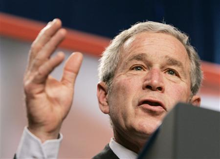 U.S. President George W. Bush speaks about his Administration's Global War on Terror and national security while at the Emerald at Queensridge in Las Vegas, Nevada, January 31, 2008. REUTERS/Larry Downing