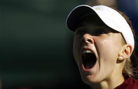 Russia's Anna Chakvetadze reacts during her Fed Cup World Group first round tennis match against Israel's Tzipi Obziler in Ramat Hasharon February 3, 2008. REUTERS/Eliana Aponte