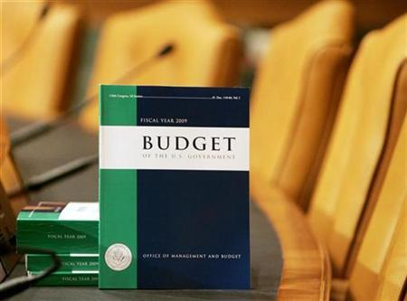 Copies of President George W. Bush's FY 2009 Budget are seen inside the Senate Budget Committee hearing room on Capitol Hill in Washington February 4, 2008. Research into producing electricity from low-emission coal and nuclear plants saw big funding boosts in the 2009 budget request submitted by the U.S. Energy Department on Monday, along with experiments in basic energy sciences. REUTERS/Larry Downing
