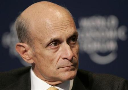 Homeland Security Secretary Michael Chertoff attends a session of the World Economic Forum (WEF) in Davos, January 24, 2008. REUTERS/Denis Balibouse