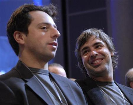 Google founders Larry Page and Sergey Brin in a 2006 photo. ARM will demonstrate a prototype of Google's Android mobile phone platform in action next week at the world's biggest wireless fair, a source close to the company said. REUTERS/Chip East