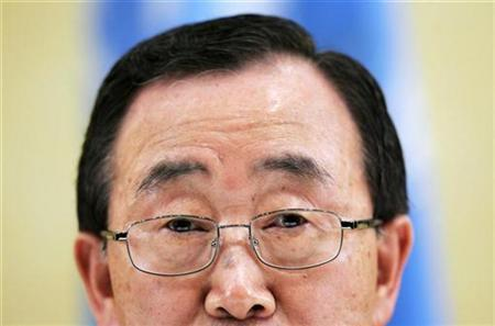 U.N. Secretary-General Ban Ki-moon speaks during a news conference in Nairobi, February 1, 2008. REUTERS/Bernat Armangue/Pool