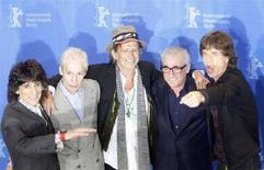 <p>I Rolling Stones Ronnie Wood, Charlie Watts, Keith Richards, il regista americano Martin Scorsese e Mick Jagger al photocall per la presentazione del documentario 'Shine A Light' in concorso alla 58esima Berlinale. REUTERS/Hannibal Hanschke</p>