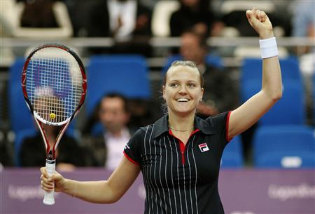 Hungary's Agnes Szavay reacts after winning her quarter-final match against Slovakia's Daniela Hantuchova in the Paris Open tennis tournament February 8, 2008. REUTERS/Benoit Tessier