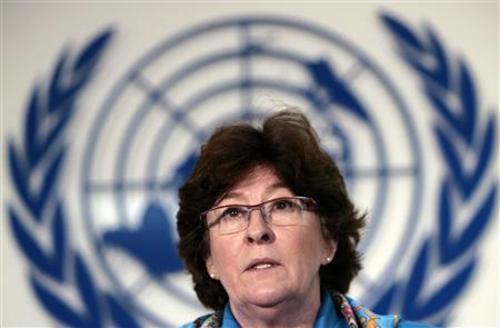 Louise Arbour, U.N. High Commissioner for Human Rights, speaks during a news conference in Mexico City February 8, 2008. REUTERS/Andrew Winning