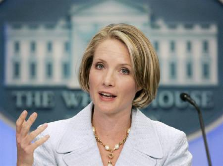 File photo of White House spokeswoman Dana Perino at the White House in Washington. The United States on Monday accused Myanmar's military rulers of planning a sham referendum in a ''pervasive climate of fear'' but the United Nations reacted more cautiously to the junta's surprise election pledge. REUTERS/Larry Downing/Files
