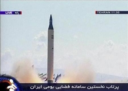 A rocket takes off at from an unidentified location in Iran in this video grab from February 4, 2008. Russia warned Iran on Wednesday that its development of rockets and continued uranium enrichment was creating the impression Tehran was intentionally ignoring the concerns of the international community. REUTERS/IRIB via Reuters TV