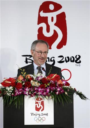 Steven Spielberg speaks during a news conference announcing the creation team for the opening and closing ceremonies of the Beijing 2008 Olympic Games in Beijing in this April 16, 2006 file photo. Oscar-winning film director Spielberg withdrew on February 12, 2008 as an artistic adviser to the 2008 Summer Olympics in Beijing over China's policy on the conflict in Sudan's Darfur region. REUTERS/China Daily