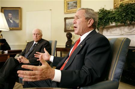 President George W. Bush speaks to reporters at the White House in Washington February 15, 2008. REUTERS/Kevin Lamarque