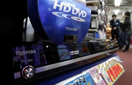 Toshiba Corp's HD DVD player is displayed at an electronic shop in Tokyo's Akihabra district February 17, 2008. REUTERS/Yuriko Nakao