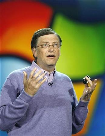 Microsoft Chairman Bill Gates speaks at a keynote address at the Consumer Electronics Show in Las Vegas, January 6, 2008. Microsoft unveiled a new initiative on Monday that will give college and high school students around the world free access to technology tools used to develop and design software. REUTERS/Rick Wilking