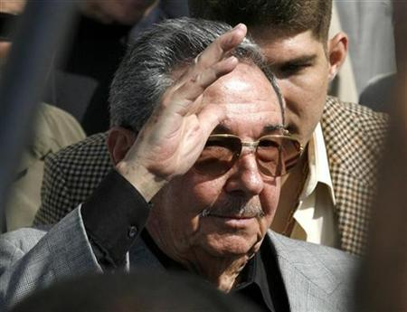 Cuba's acting President Raul Castro gestures during the inauguration of the International Book Fair in Havana February 14, 2008. REUTERS/Enrique De La Osa