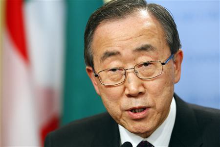 United Nations Secretary-General Ban Ki-moon speaks to members of the media at U.N. headquarters in New York, February 17, 2008. REUTERS/Keith Bedford