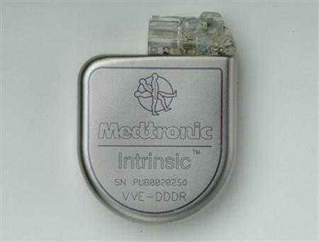 The Medtronic Intrinsic(R) implantable cardioverter-defibrillator is seen in this undated handout photo. The Supreme Court handed a victory to Medtronic Inc on Wednesday, ruling that patients cannot sue medical-device manufacturers in state court over harm from a device that has approval from federal regulators. REUTERS/Handout/Medtronic