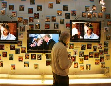A Blu-ray display at the Sony booth at the 2006 Consumer Electronics Show in Las Vegas. All six major Hollywood studios are now in the Blu-ray DVD camp, a day after Toshiba pulled the plug on HD DVD and Blu-ray became effectively the only next-generation game in town. REUTERS/Rick Wilking