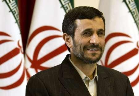 Iran's President Mahmoud Ahmadinejad attends a meeting with foreign ambassadors to commemorate the anniversary of Iran's Islamic Revolution, in Tehran, February 10, 2008. World powers can pass U.N. sanctions resolutions for 100 years without deterring Iran from its nuclear ambitions, Iran's president said on Saturday. REUTERS/Raheb Homavandi