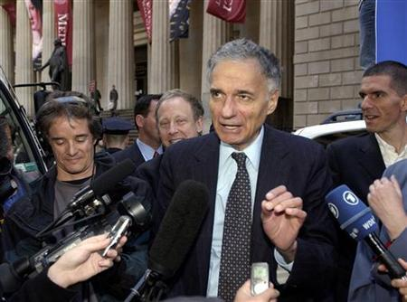 File photo shows independent Presidential Candidate Ralph Nader speaking to journalists after a pre-election rally on Wall Street in New York, November 1, 2004. REUTERS/Chip East