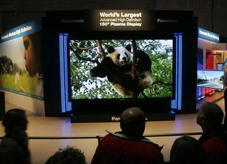 A Panasonic flat panel 150-inch High Definition plasma television is displayed in Las Vegas, Nevada January 7, 2008. Pioneer Corp will stop making 42-inch plasma panels and instead buy panels in that size and smaller from Panasonic maker Matsushita Electric Industrial or Hitachi Ltd to turn around its loss-making flat TV business, the Asahi newspaper said. REUTERS/Steve Marcus