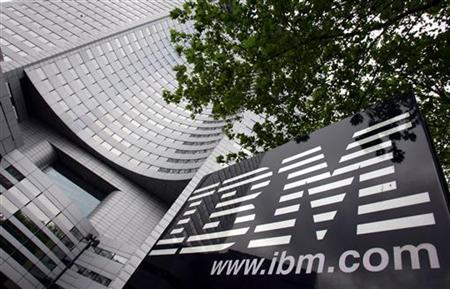 View of IBM headquarters at la Defense in Paris, May 6, 2005. IBM is set to launch the latest update of its powerful mainframe computer on Tuesday, a more energy-efficient machine that it hopes will compete with high-end computers from rivals such as Hewlett-Packard Co and Sun Microsystems Inc. REUTERS/Philippe Wojazer
