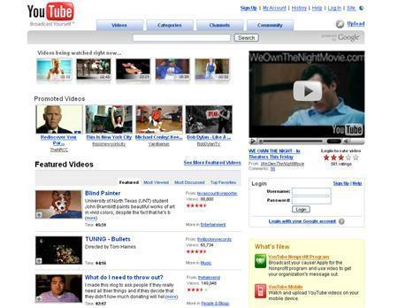 A screenshot of YouTube.com, taken on October 11, 2007. Pakistani Internet service providers may have inadvertently blocked the popular YouTube Web site across the world at the weekend when they restricted local access to the site, a telecommunications official said. REUTERS/www.youtube.com
