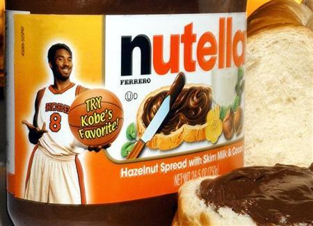 Los Angeles Lakers star Kobe Bryant is shown on a jar of Nutella Hazelnut spread in this August 5, 2003 file photo. A television commercial for Nutella broke advertising rules because it exaggerated the chocolate spread's health benefits, the industry watchdog said on Wednesday. REUTERS/Tim Shaffer