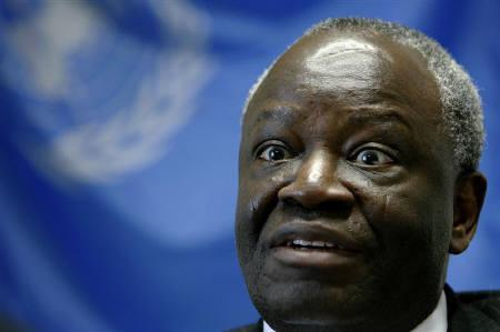 Ibrahim Gambari, United Nations special envoy to Myanmar, speaks during an interview in Tokyo February 28, 2008. Gambari said on Thursday that he would urge Myanmar's military government to take steps to make its roadmap to democracy ''credible and inclusive'' when he visits the country next week. REUTERS/Kiyoshi Ota