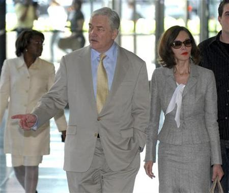 Conrad Black and his wife Barbara Amiel Black at the Dirksen Federal courthouse in Chicago, July 19, 2007. A federal appeals court denied on Thursday Conrad Black's request to remain free on bond during the appeal of his convictions for fraud and obstructing justice, though the judges indicated his appeal had at least a chance. REUTERS/Stephen J. Carrera