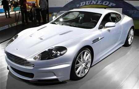 The new Aston Martin DBS is seen at the Frankfurt International Auto Show IAA in Frankfurt September 11, 2007. Aston Martin, whose DB5 model was driven by James Bond, is to assemble vehicles outside Britain for the first time after a deal with Austria's Magna Steyr, the company said on Tuesday. REUTERS/Wolfgang Rattay /Files