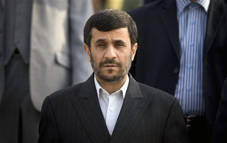 Iran's President Mahmoud Ahmadinejad attends a ceremony before leaving for Iraq, at the International Mehrabad Airport in Tehran, March 2, 2008. REUTERS/Morteza Nikoubazl
