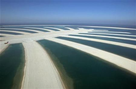 An aerial view of The Palm Island Jebel-Ali in Dubai, November 8, 2007. U.S. theme park operator Six Flags Inc said it agreed with company owned by the ruler of Dubai to develop theme parks in the Arab world, including one in Dubai in Six Flag's first foray outside North America. REUTERS/Steve Crisp