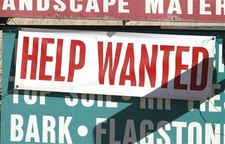 A sign at a landscape supply company advertises available jobs in Arvada, Colorado October 5, 2007. U.S. private employment fell unexpectedly for the first time in nearly five years in February, according to a private report on Wednesday that dealt another blow to an economy teetering on the brink of recession. REUTERS/Rick Wilking