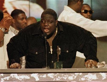 Rap singer Notorious B.I.G. is shown on stage at the 1996 Soul Train Music Awards in Los Angeles in this file photograph. Fox Searchlight has hired Jamal Woolard, a Brooklyn-based rapper, to play late rap icon Biggie Smalls, a.k.a. the Notorious B.I.G., in its upcoming biopic ''Notorious.'' REUTERS/Fred Prouser/Files