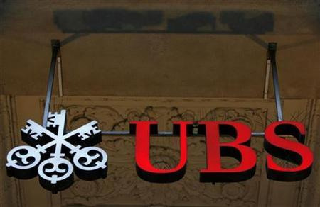 The logo of Swiss bank UBS is pictured in front of its branch at the St-Francois Place in Lausanne February 14, 2008. REUTERS/Denis Balibouse