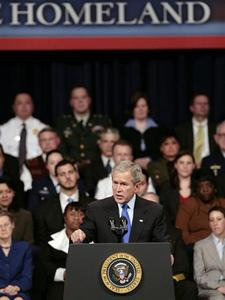 President Bush celebrates the 5th anniversary of the Department of Homeland Security at the DAR-Constitution Hall in Washington, March 6, 2008. REUTERS/Larry Downing
