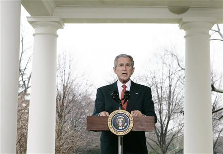 President George W. Bush makes a statement about the economy outside the Oval Office at the White House in Washington March 7, 2008. REUTERS/Larry Downing