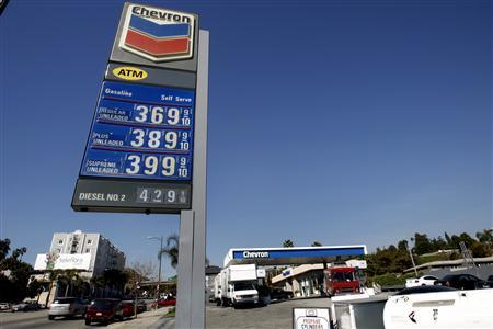Gas prices are displayed at a gas station in Hollywood, California March 10, 2008. REUTERS/Mario Anzuoni