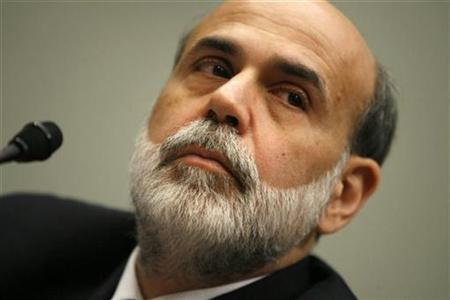 Chairman of the Federal Reserve Ben Bernanke testifies on the state of the economy before the House Financial Services Committee on Capitol Hill in Washington February 27, 2008. The Fed and other central banks on Tuesday teamed up to get hundreds of billions of dollars in fresh funds to cash-starved credit markets, allowing financial firms to use securities backed by home mortgages as collateral for central bank loans. REUTERS/Kevin Lamarque