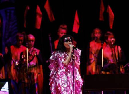 Icelandic singer Bjork is seen during her concert the Volta Tour in Tokyo in this February 22, 2008 file photo. Bjork's pro-Tibet outburst at a Shanghai concert has not only angered China's wary cultural guardians, but annoyed music promoters who say politics is bad for business and worse for Chinese fans. REUTERS/Kim Kyung-Hoon/Files